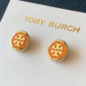 Tory Burch-logo gold orange earrings